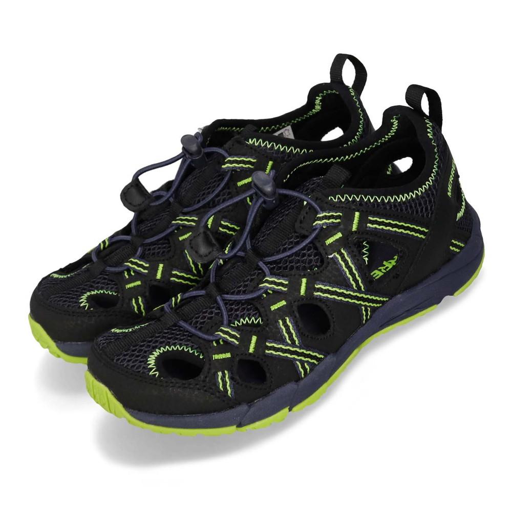 MERRELL 涼鞋 Hydro Choprock 戶外運動 女鞋 多功能鞋 快乾 耐磨 抓地 快速綁帶 大童 黑綠 [MK261264