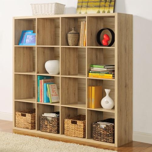 【美意嘉】時尚設計十六格櫃/書櫃/置物櫃/收納櫃/隔間櫃(淺橡色)