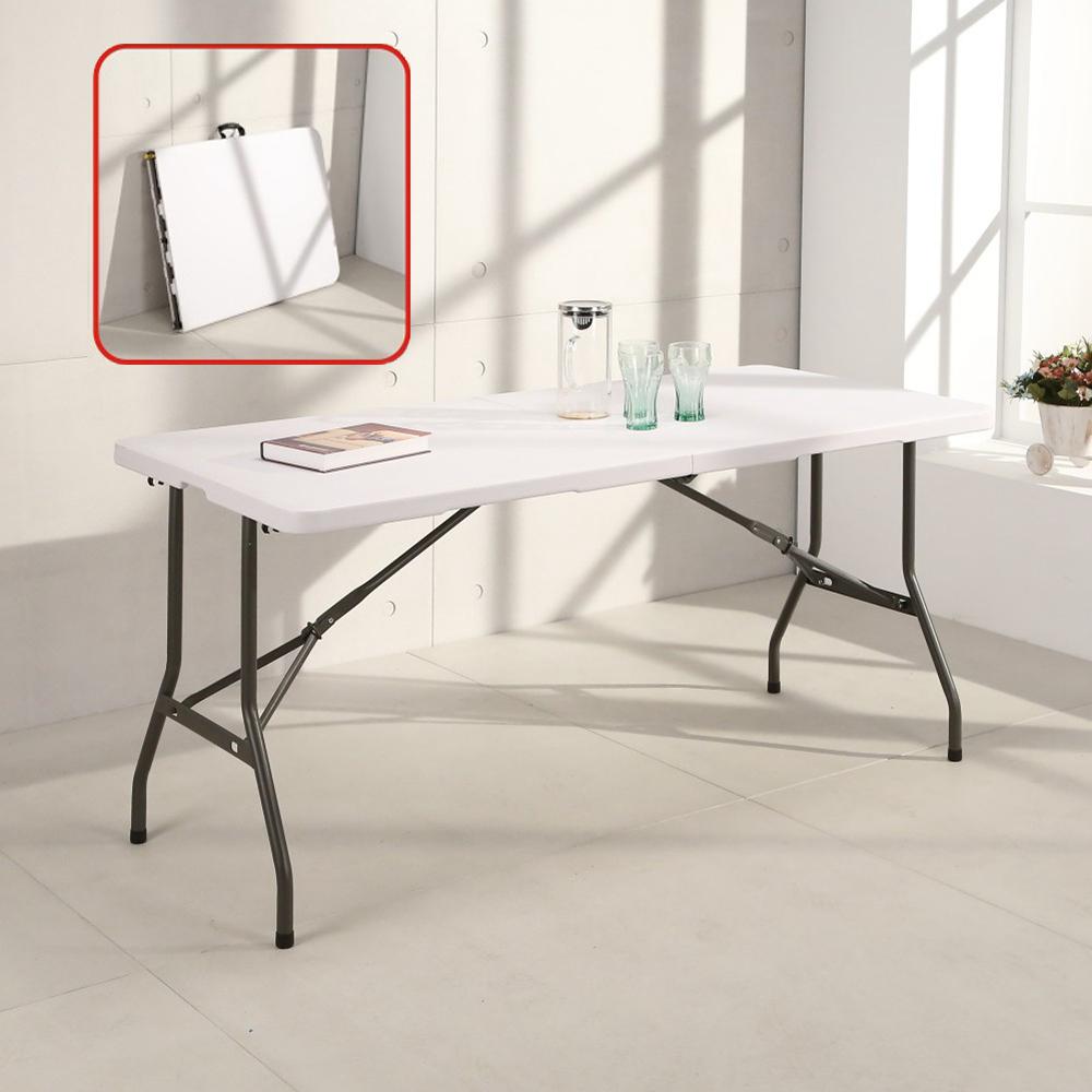 邏爵LOGIS-升級版⇧桌面可折多用途152*71塑鋼折合桌/露營桌 CZ152Z