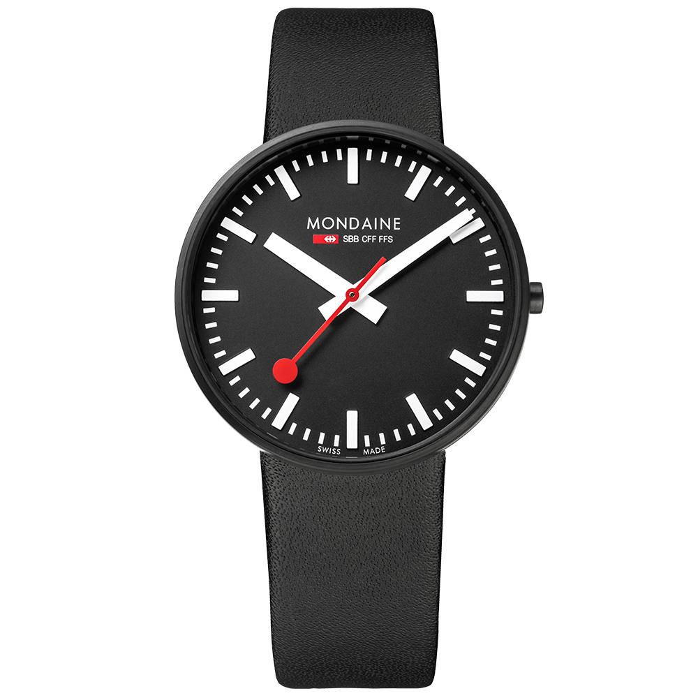 MONDAINE 瑞士國鐵Giant大錶面限量腕錶/42mm-黑面 (660864BO)