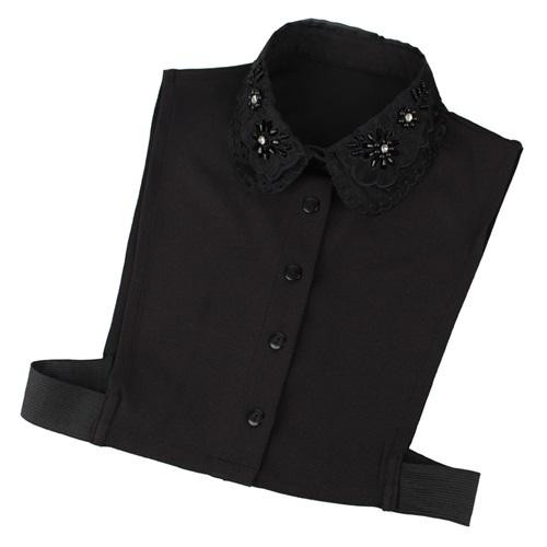 【米蘭精品】假領子襯衫領片-黑色雪紡鑲鑽刺繡女裝配件73va9