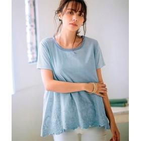 ラナン 裾スカラップ刺しゅうTシャツ レディース サックス L 【Ranan】