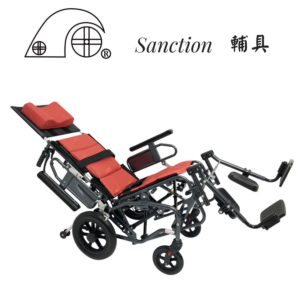 【sanction輔具健康館】扶手後掀拆腳 擺位輪椅 9TR12