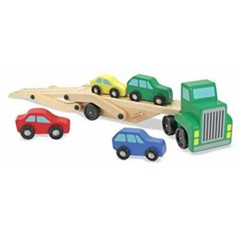 メリッサ&ダグ カーキャリア トラック&車 木製玩具セット Melissa & Doug Car Carrier Truck & Cars Wooden Toy Set, Compatible with
