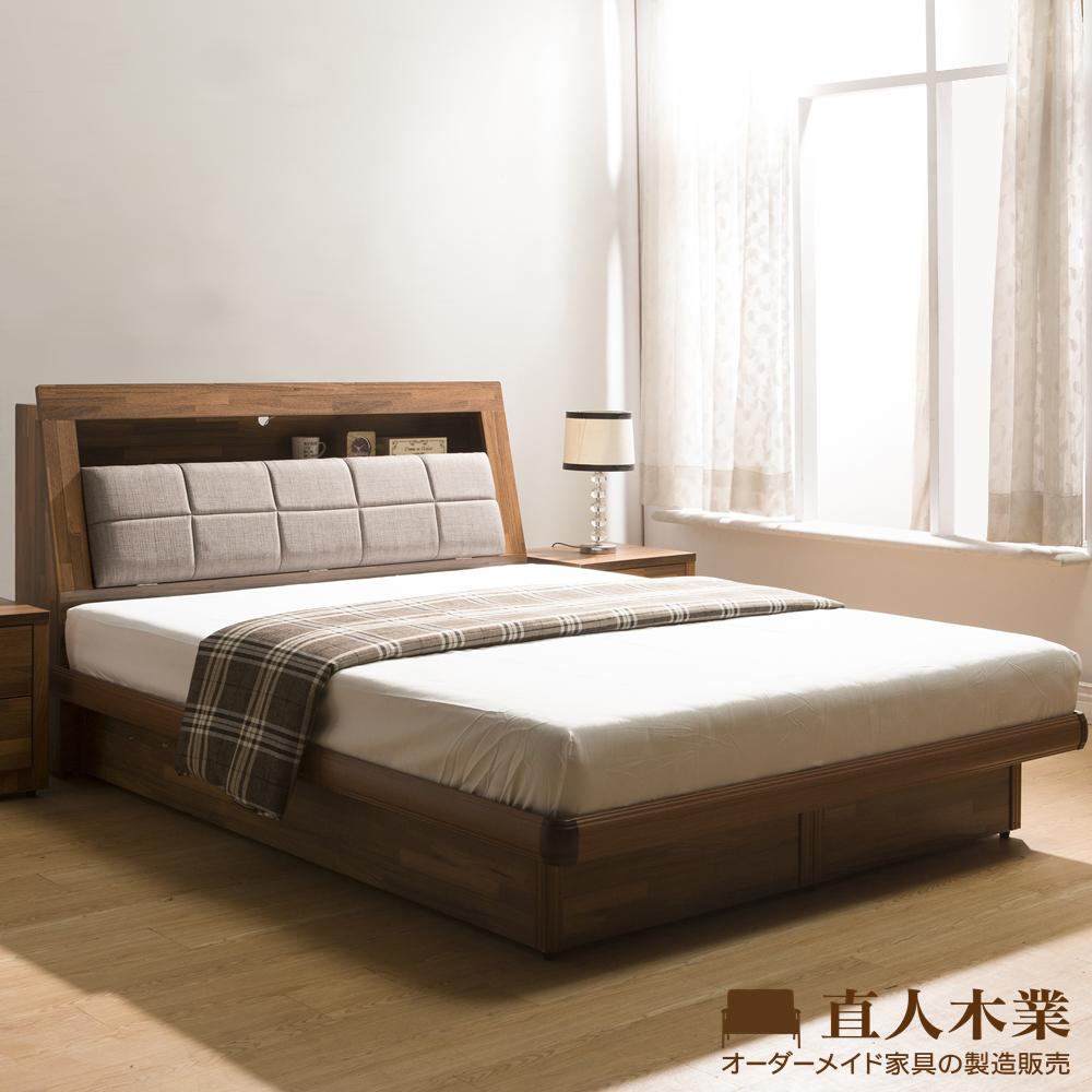 【日本直人木業】KELT積層木單層收納6尺雙人加大附插座掀床組