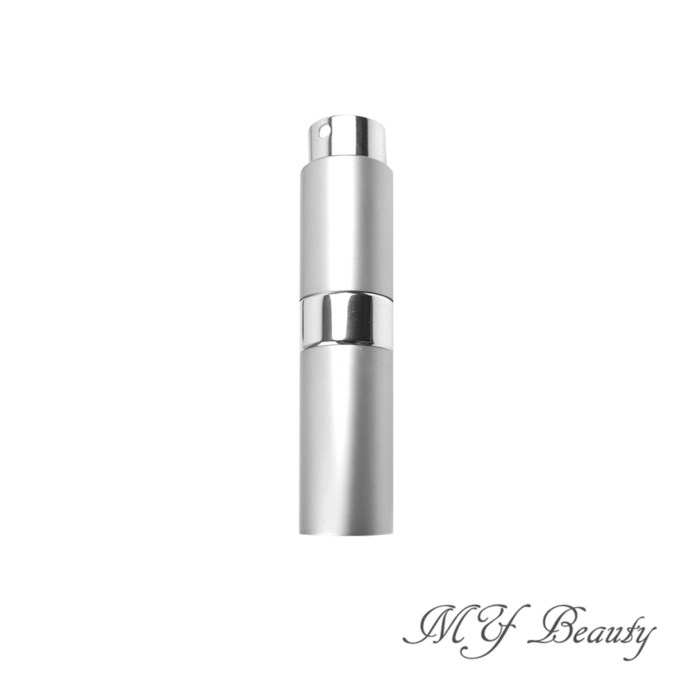 MYBeauty 時尚液體噴霧填充瓶 旅行分裝/隨身收納(玻璃管 旋轉收納款8ML - 銀色)