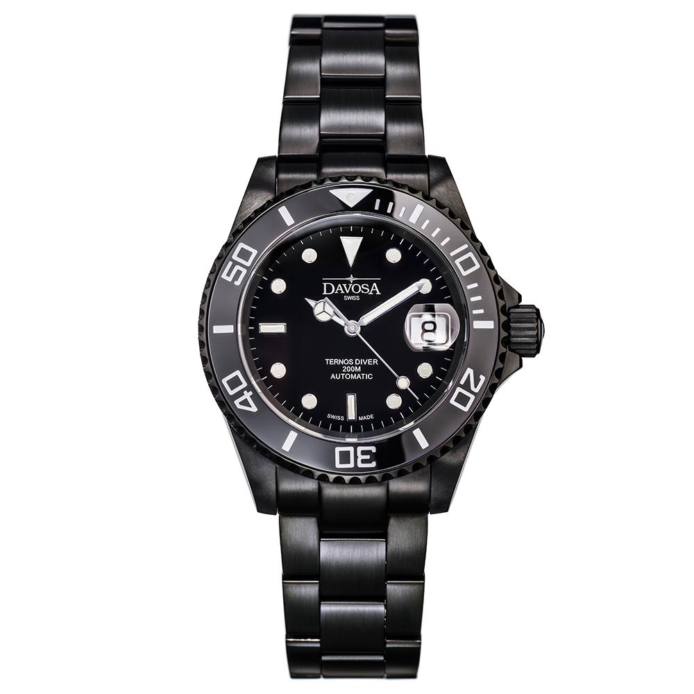 DAVOSA Black Ternos DLC金剛石黑碳陶瓷200米潛水腕錶-40mm 161.600.55