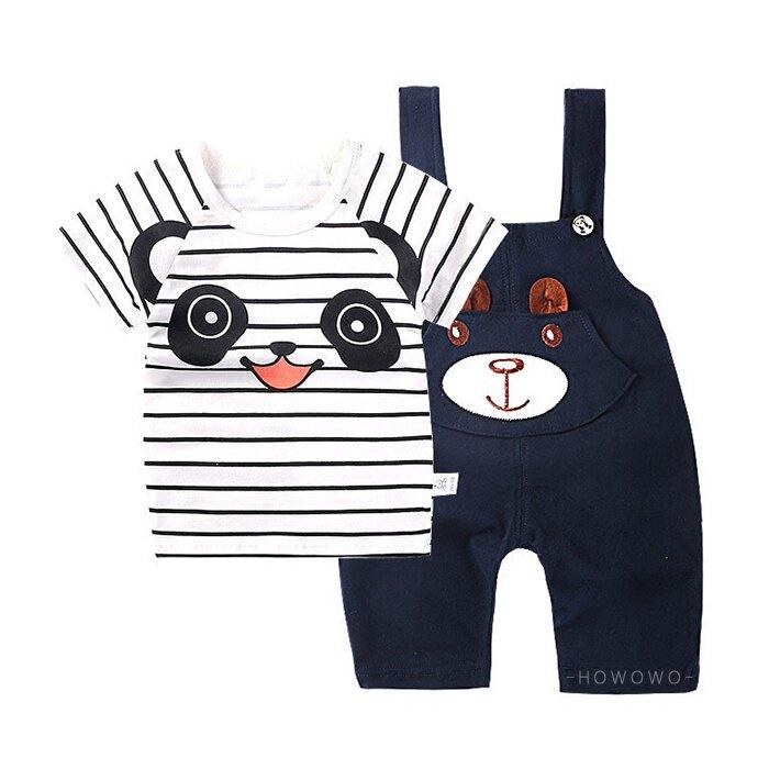 嬰兒短袖套裝 卡通熊貓 短袖上衣 +吊帶褲 寶寶童裝 CK0455 好娃娃