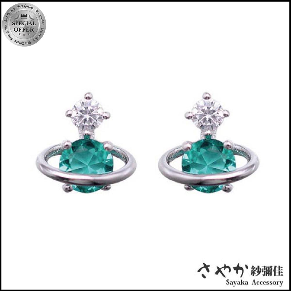 【Sayaka紗彌佳】環繞星球綠晶鑽造型銀耳環