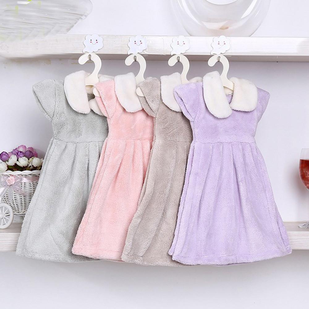 珊瑚絨造型擦手巾-可愛洋裝(四色各一/組)