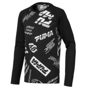 【セール】 プーマ ジュニアスポーツウェア Tシャツ ALPHA LS AOP Tシャツ 84395201 ボーイズ ブラック