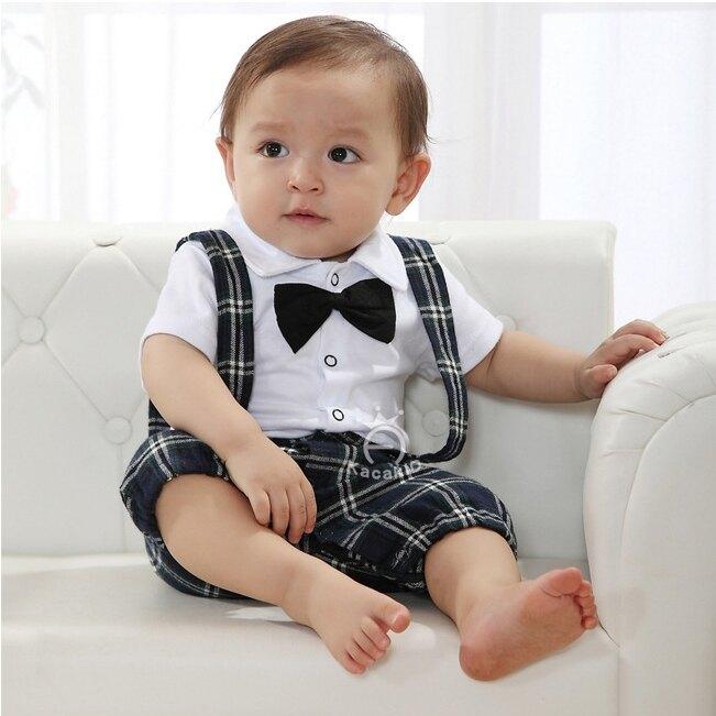 紳士領結小西裝假2件式短袖吊帶褲連身衣 橘魔法 Baby magic 現貨 兒童 童裝 男童 喜酒 婚禮 花童【p0061185937499】