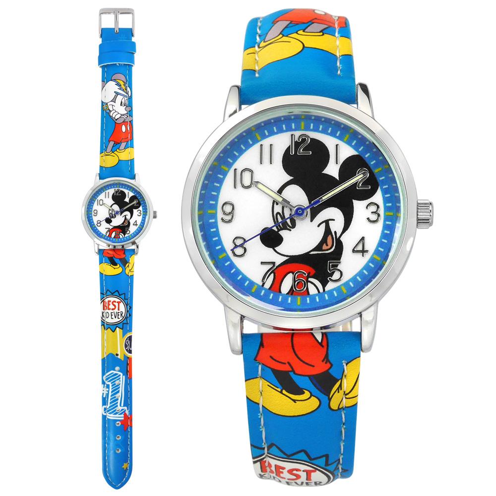 Disney 迪士尼 / MK-14003L / 米奇系列 造型錶帶 兒童錶 卡通錶 皮革手錶 白x藍 32mm