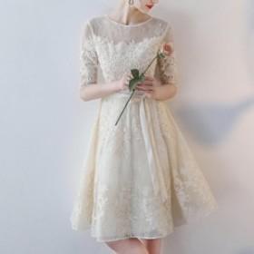 ドレス ワンピースドレス イリュージョンネック 花柄総レース Aラインワンピースドレス 五分袖  大きいサイズ 春夏秋