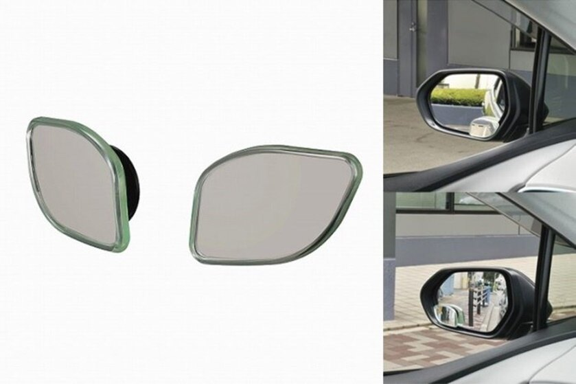 權世界@汽車用品 日本CARMATE 車外後視鏡黏貼座式可調角度超廣角安全行車輔助鏡(多角形) 2入 DZ500