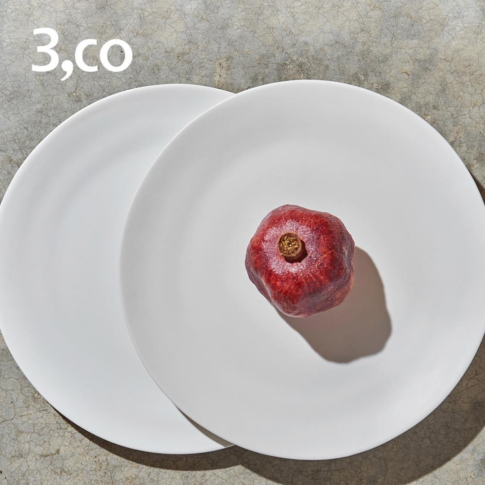 【3,co】水波主菜盤(2件式) - 白+白