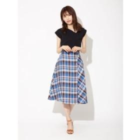 【Fabulous Angela:スカート】リネンマドラスチェックボタン付きフレアスカート