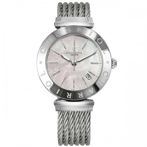 CHARRIOL夏利豪(AMS51002) Alexandre系列經典鋼索腕錶/粉紅貝殼面34mm