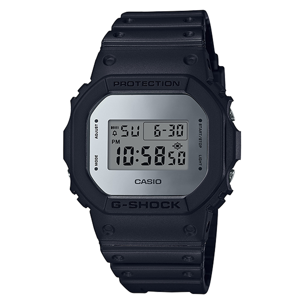 【CASIO 卡西歐】G-SHOCK 復刻經典電子男錶 樹脂錶帶 銀色錶面 防水200米 DW-5600BBMA-1D