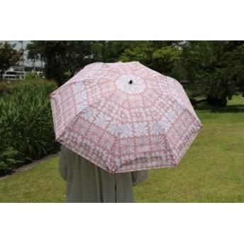 晴雨兼用 二重張り 折りたたみ傘 キュービックフラワー UVカット 雨傘 日傘