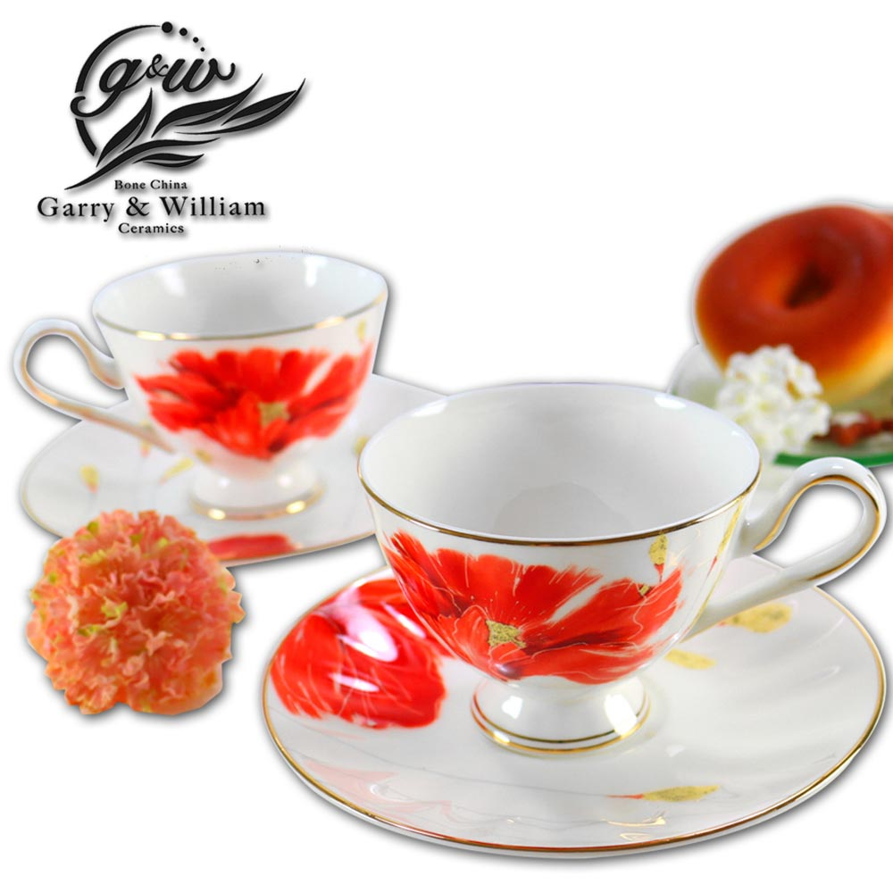 瑪里琳-嫣紅2入骨瓷杯盤組-14509