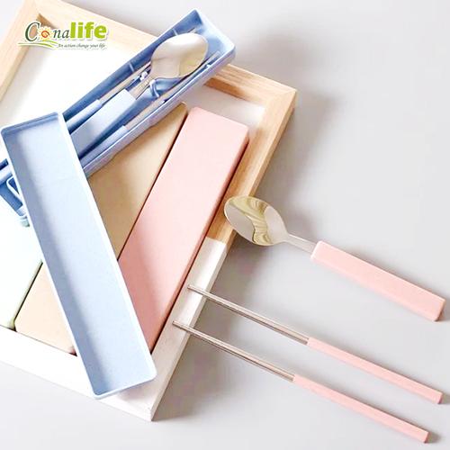 [Conalife] 小麥不鏽鋼餐具組 (4組)