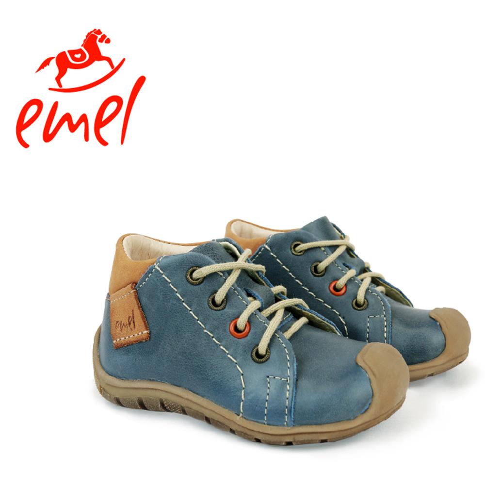【Emel】手工真皮鞋-真心大冒險(綁帶低筒鞋-藍)