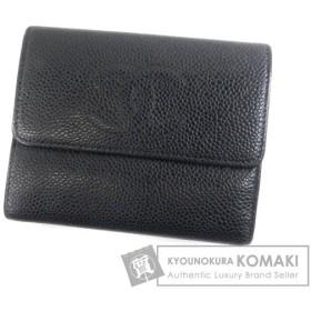 CHANEL シャネル ココマーク 二つ折り財布(小銭入れあり) キャビアスキン レディース 中古