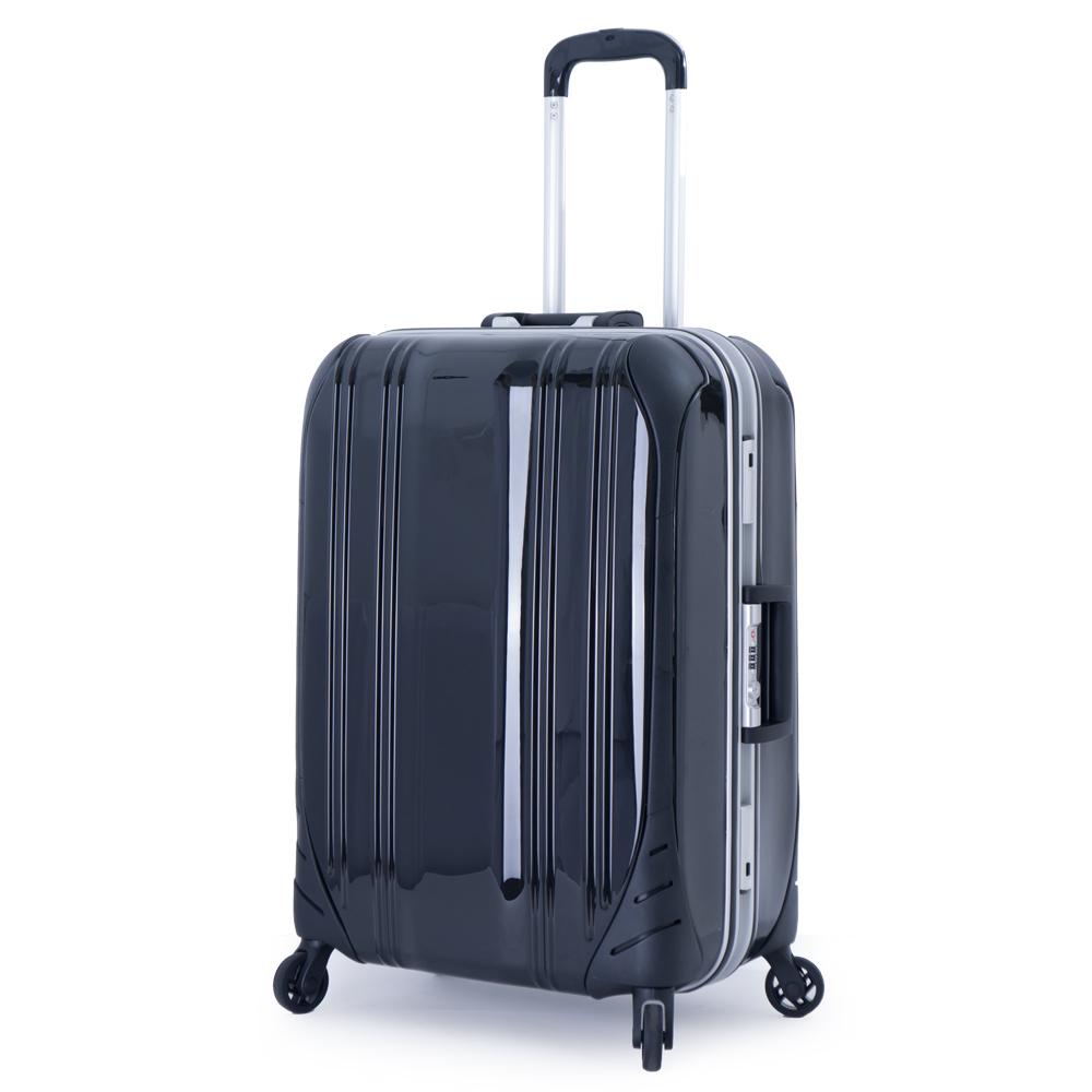 DF travel - 簡奢風華極光鏡面鋁框24吋行李箱-黑色