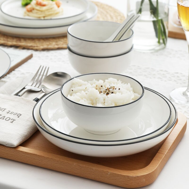 日式簡約 五吋 藍邊陶瓷碗 湯碗 陶瓷碗  廚房餐具【RS909】