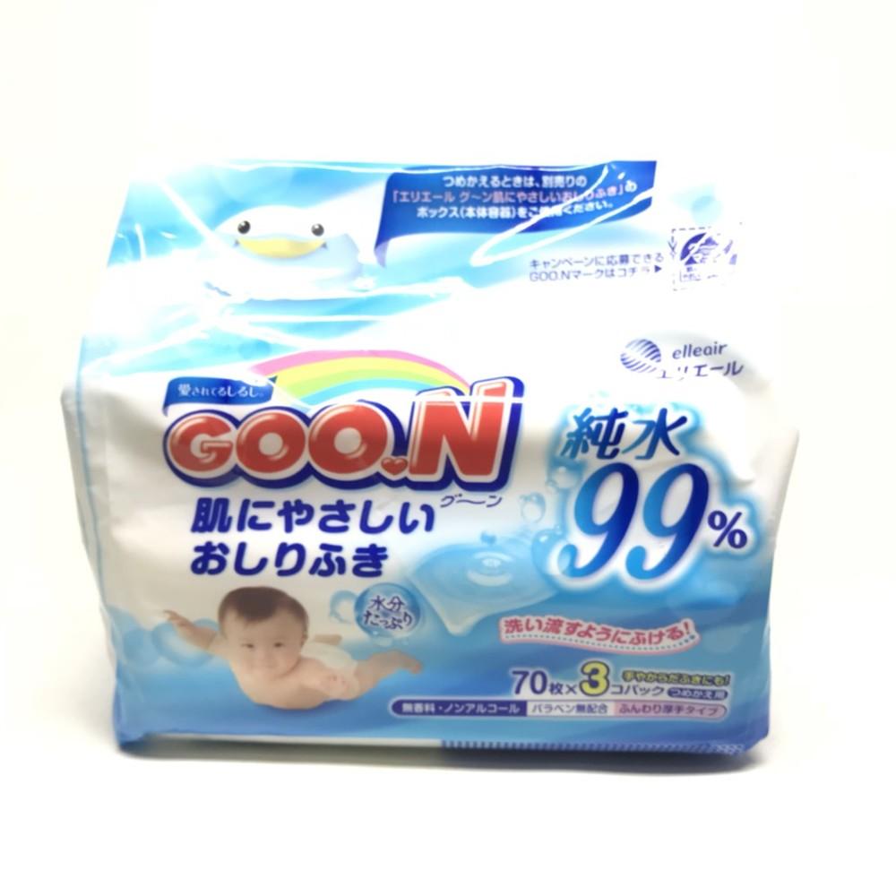 [日本公司貨] goo.n 嬰兒護膚柔濕巾 日本大王 純水 寶寶 濕紙巾 手口用濕紙巾 70抽*3包