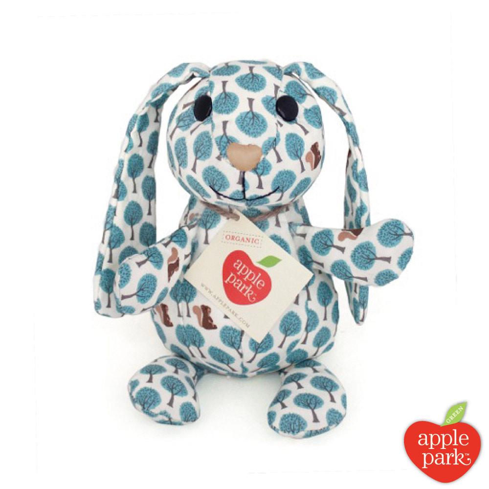 美國 Apple Park 野餐好朋友系列- 印花玩偶禮盒,長耳兔(粉藍森林)