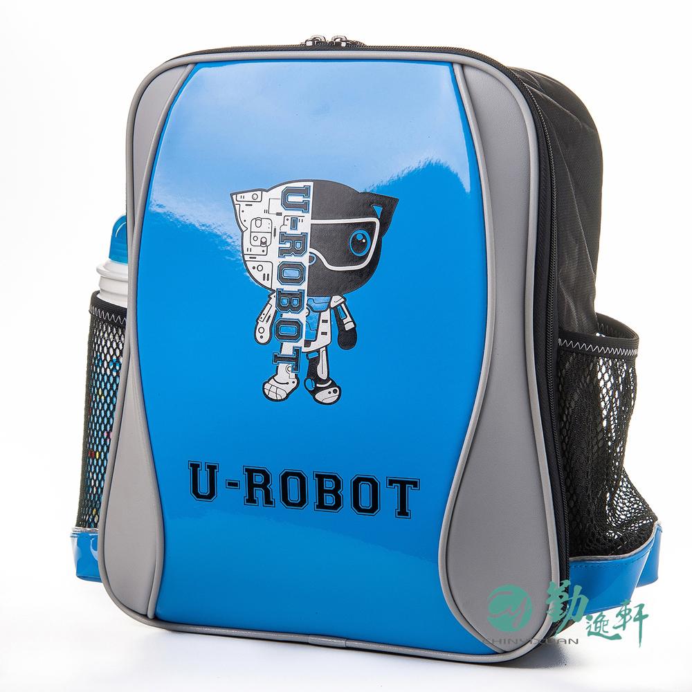 UnMe 機器人S波浪單層後背書包/ 鏡面藍
