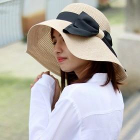 ハット レディース つば広 UV 折りたたみ可能 洗える 持ち運び 大きいリボン 麦わら帽子 帽子 ストローハット Mixベージュ