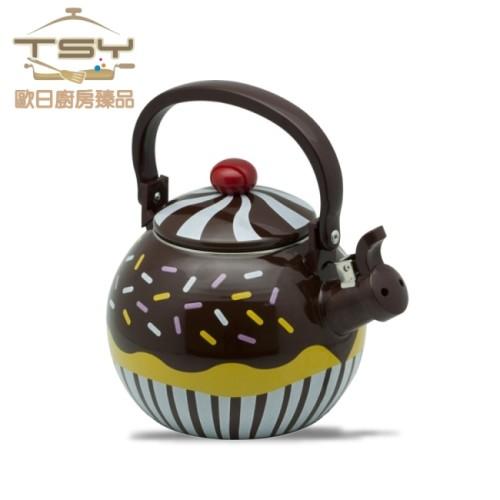 tsy歐日廚房臻品巧克力鬆餅不鏽鋼琺瑯彩繪笛音茶壺1.7l