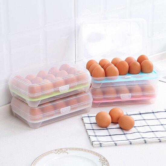 ●MY COLOR●15格雞蛋收納盒 冰箱 保鮮盒 便攜 防碰 廚房 塑料 雞蛋盒 蛋托 居家用品 帶蓋 疊加 食物 料理 冷藏 分格 密封【Z137】