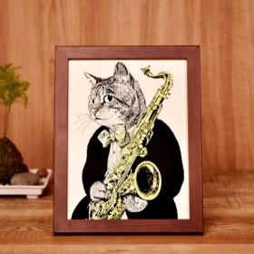 【クラシックキャット肖像画】サックス|音楽雑貨|クラシック音楽|Music Gift