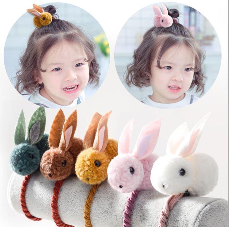 抖音小兔子立體髮圈韓國卡通女童寶寶紮頭小兔子兒童髮圈精緻髮繩 髮圈 髮束 髮飾 飾品