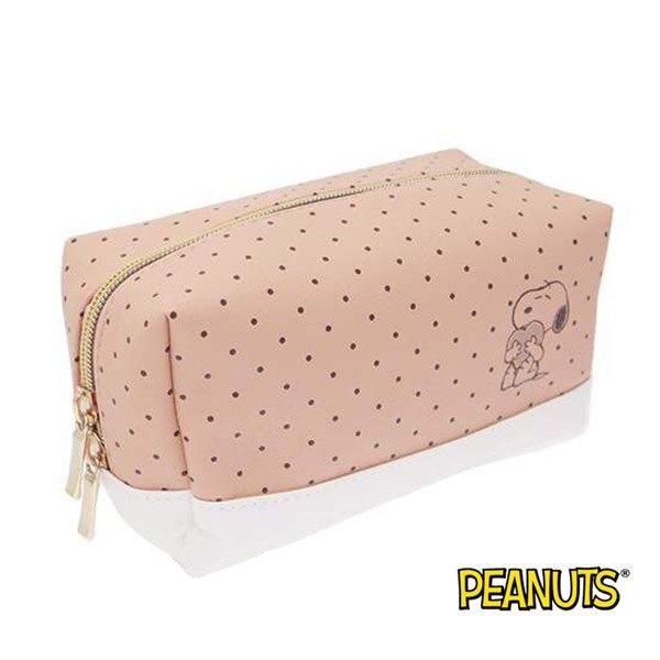 【日本進口】史努比 Snoopy 皮革 點點 化妝包 防潑水 收納包 PEANUTSS - 828397