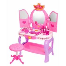 HJXDJP-子供のままごと遊びをするドレッサーおもちゃ シミュレーション 化粧台 女の子メイクゲームセット鏡台、椅子、ヘアクリップ、櫛、