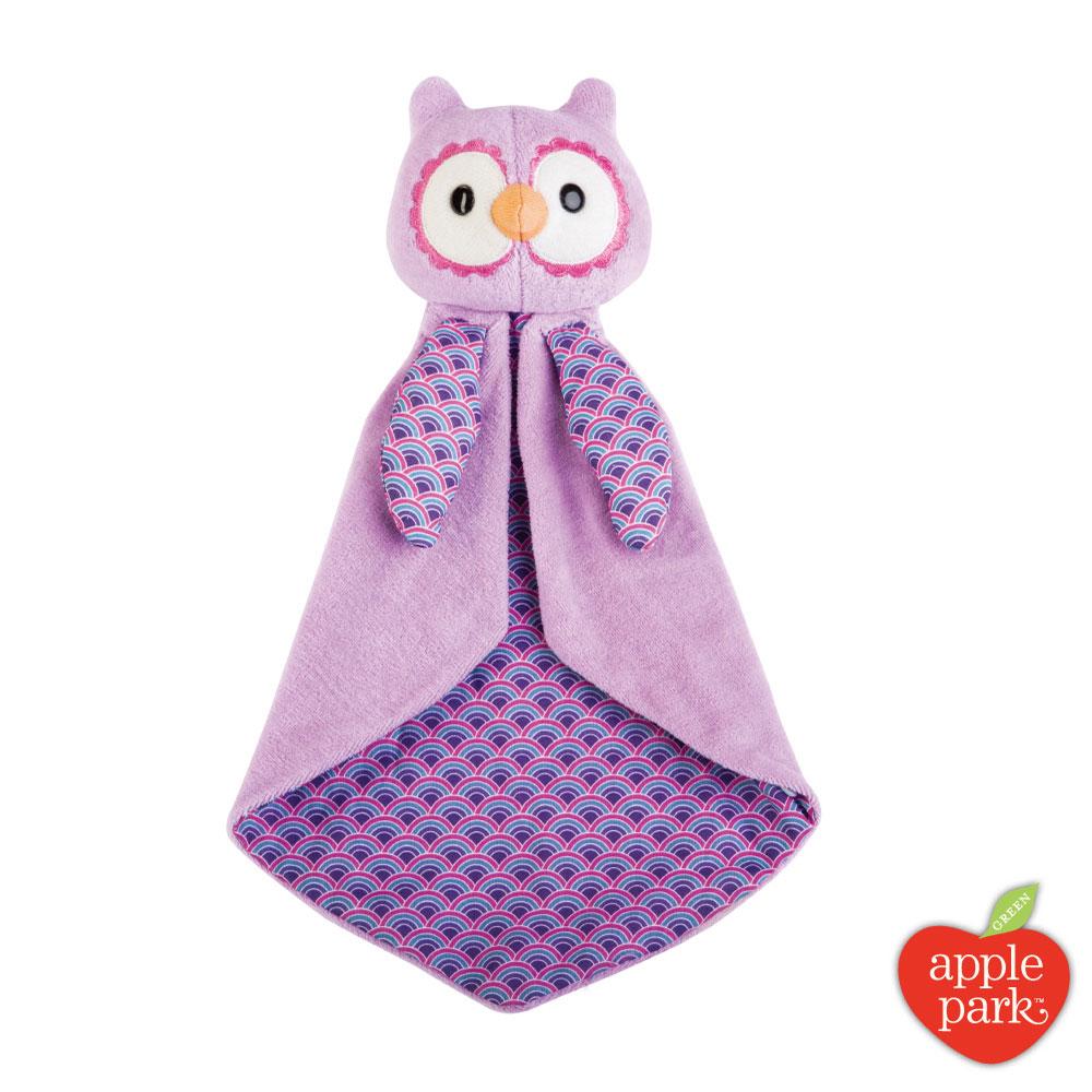 美國 Apple Park 野餐好朋友系列 - 安撫巾禮盒,粉紫貓頭鷹
