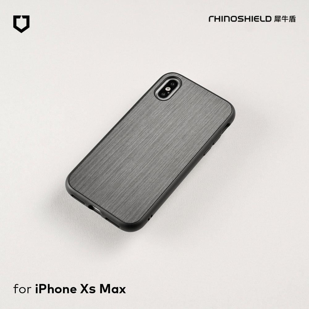 犀牛盾 iPhone Xs Max Solidsuit髮絲紋防摔背蓋手機殼 - 黑色