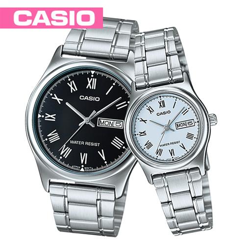 【CASIO 卡西歐】送禮首選-甜蜜浪漫情侶對錶(MTP-V006D-1B+LTP-V006D-2B)