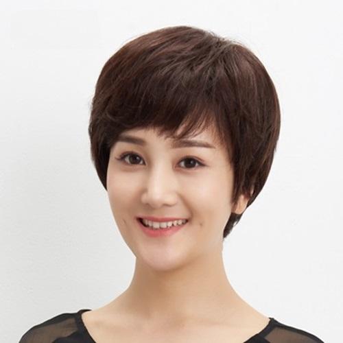 【米蘭精品】整頂假髮真髮短假髮-清爽自然微捲舒適女假髮73uu30