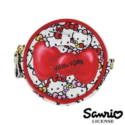 5330【日本進口正版】Hello Kitty 凱蒂貓 三麗鷗 人物系列 圓型 皮質 零錢包 SANRIO
