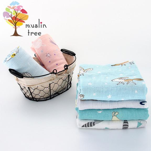 2條入muslintree雙層紗布包巾竹纖維新生兒蓋毯寶寶包被-mt2628