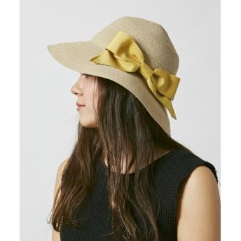 【オンワード】 Hat Homes(ハットホームズ) 【洗えるツバ広ハット】 ミルサ ウォッシャブルブレードリボンキャペリン 黄 57.5cm レディース