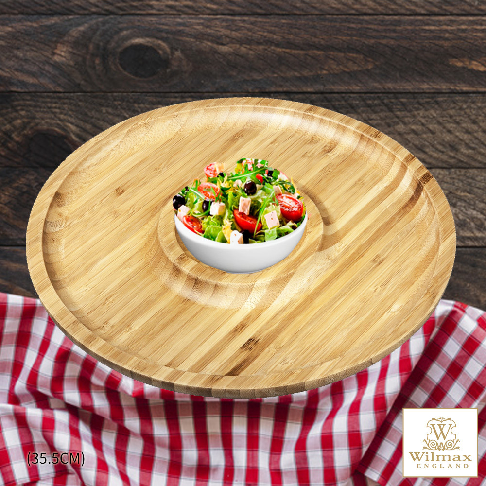 英國 wilmax竹製圓形分隔餐盤/輕食盤附醬料碟組 35.5cm