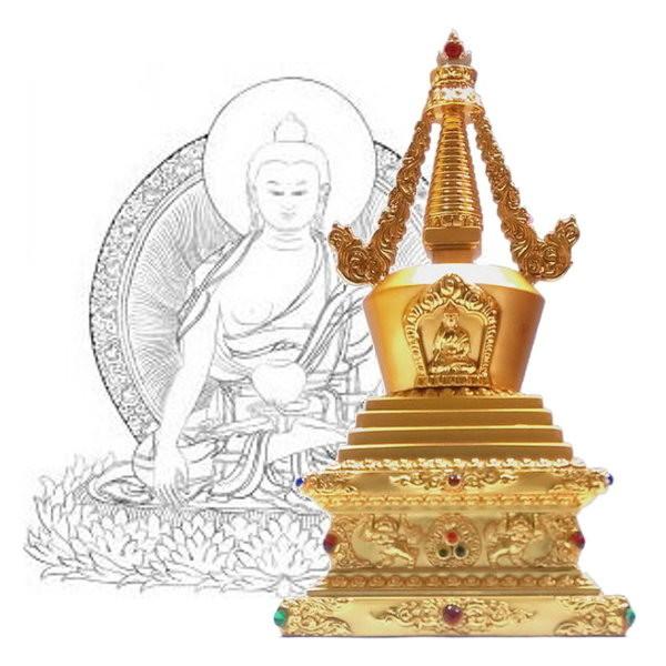 28.5公分 純銅菩提塔 釋迦牟尼佛 塔底可裝藏 金色