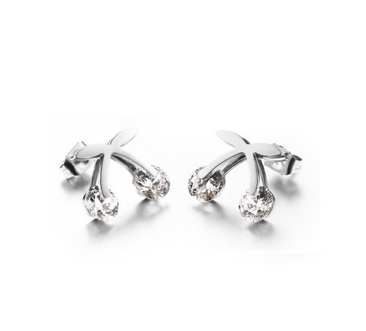 韓版櫻桃造型白鋼耳環 一對價-eks284